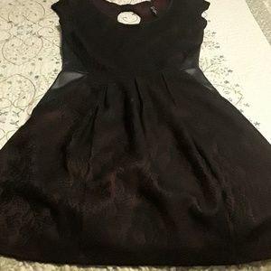 Maroon and black dress.
